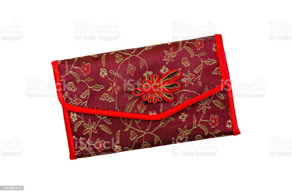 Beautiful women's purse in oriental style on a white background. stock photo