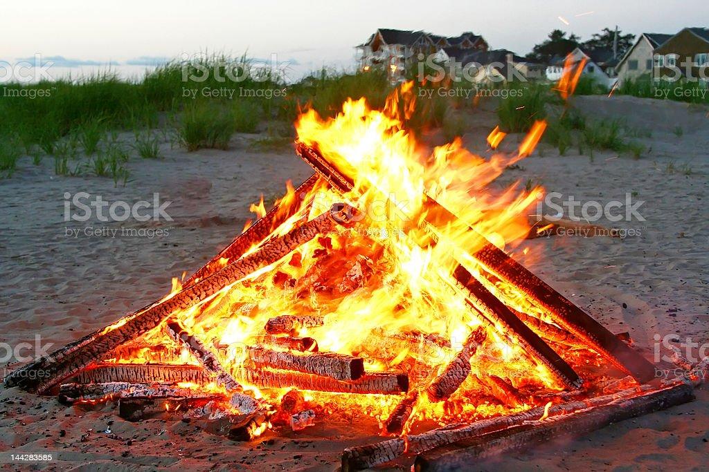 Beautiful wood fire on the Beach stock photo