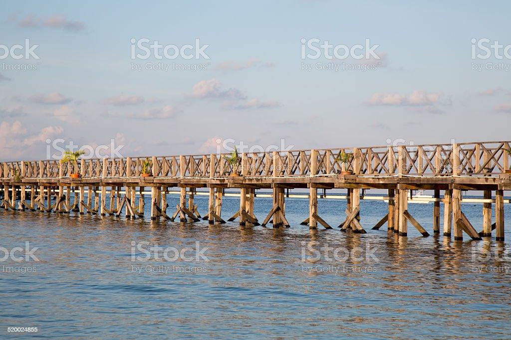 Beautiful wooden bridge. stock photo