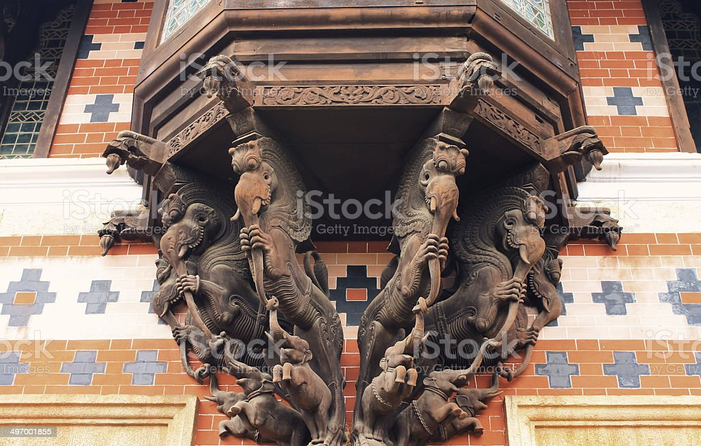 Beautiful Wooden Carvings at museum. stock photo