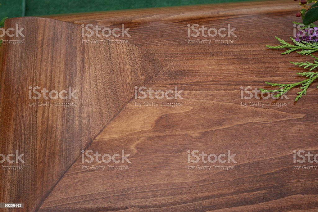 beautiful wooden coffin closed viewed from the top stock photo