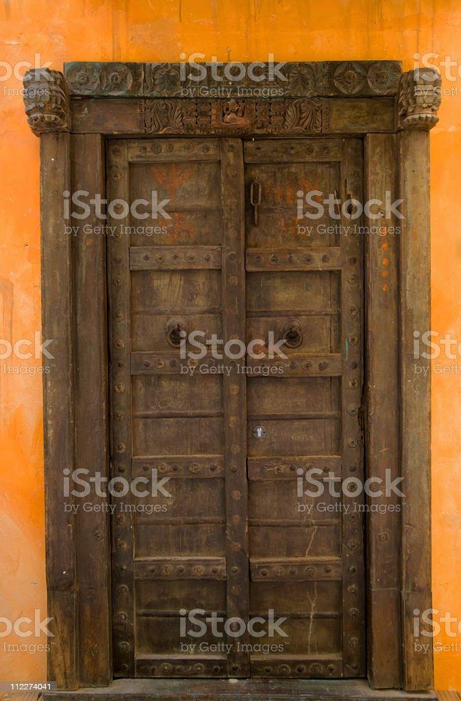 Beautiful wooden door stock photo
