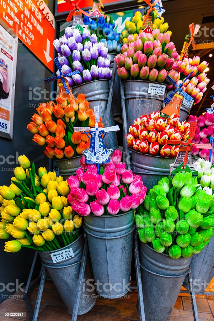 Beautiful Wooden Flowers at Amsterdam stock photo