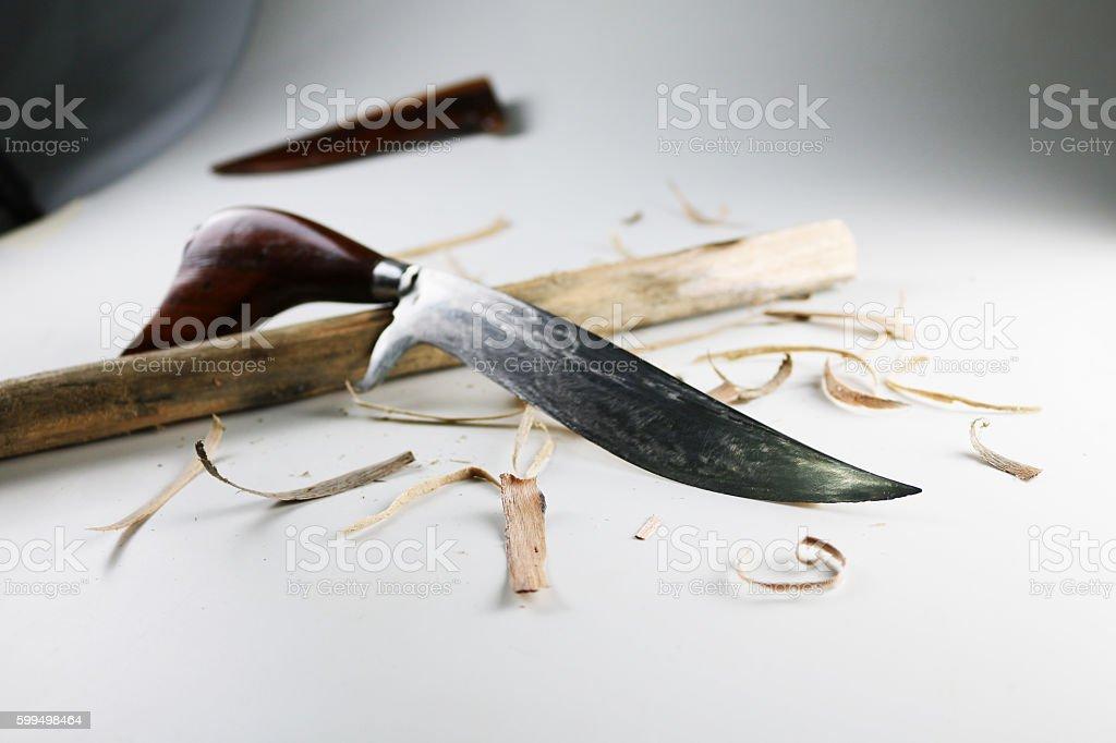 Beautiful wooden handle knife. stock photo