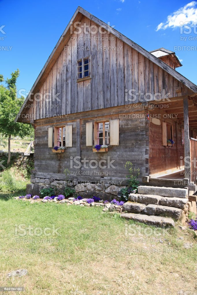 Beautiful wooden house stock photo