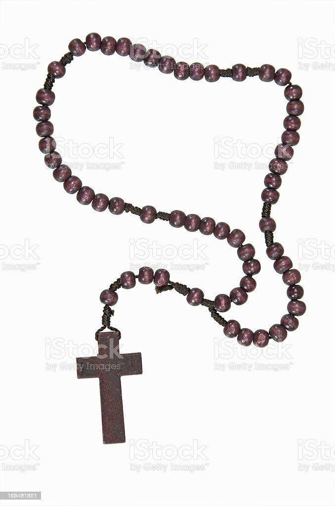 Beautiful wooden rosary beads on a white background. stock photo