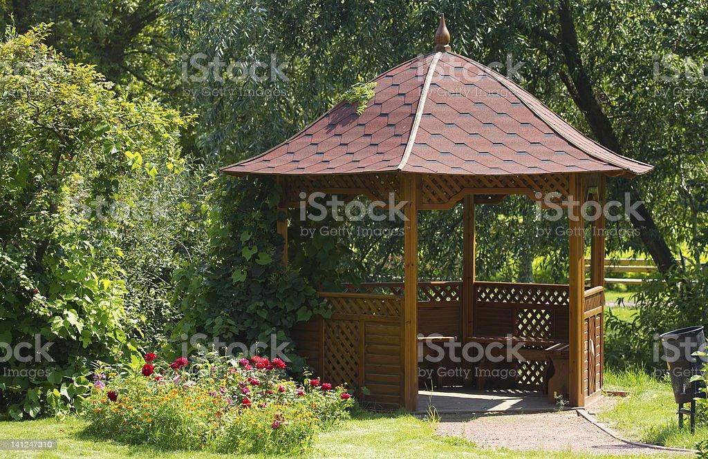 Beautiful wooden summerhouse stock photo