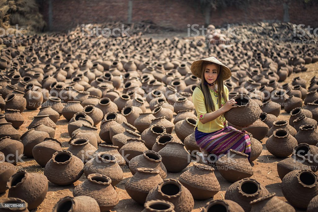 Beautiful Worker Women, Happy asian traditional harvest at Manda stock photo