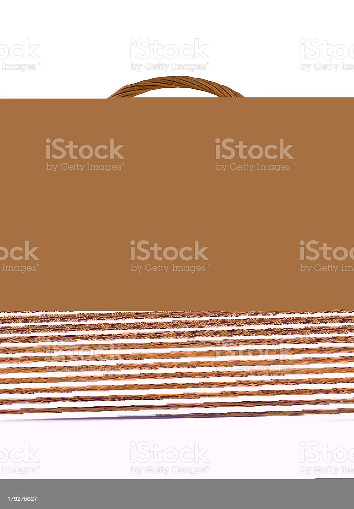 Beautiful woven basket for food isolated over white royalty-free stock photo