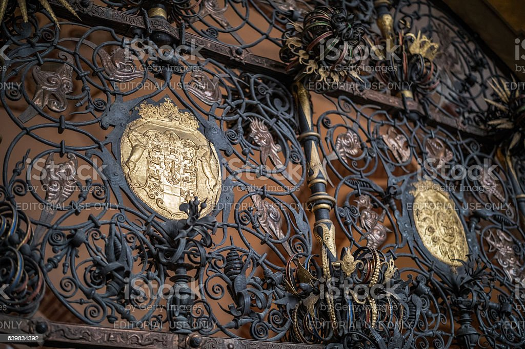 Beautiful wrought iron gate in Roskilde Cathedral. stock photo
