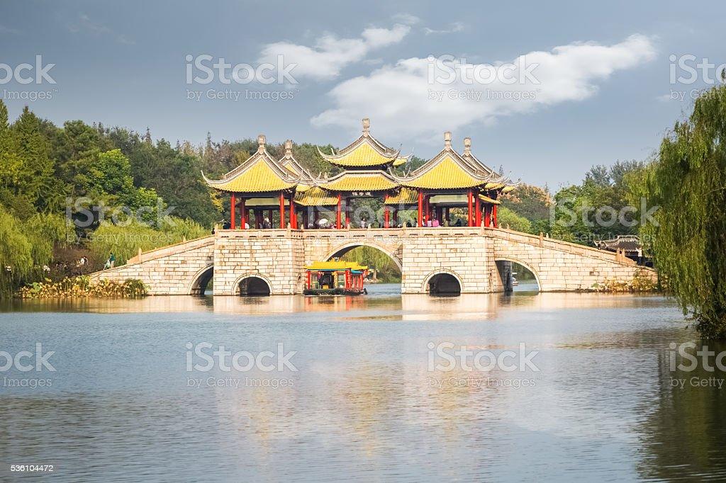 beautiful yangzhou five pavilion bridge closeup stock photo