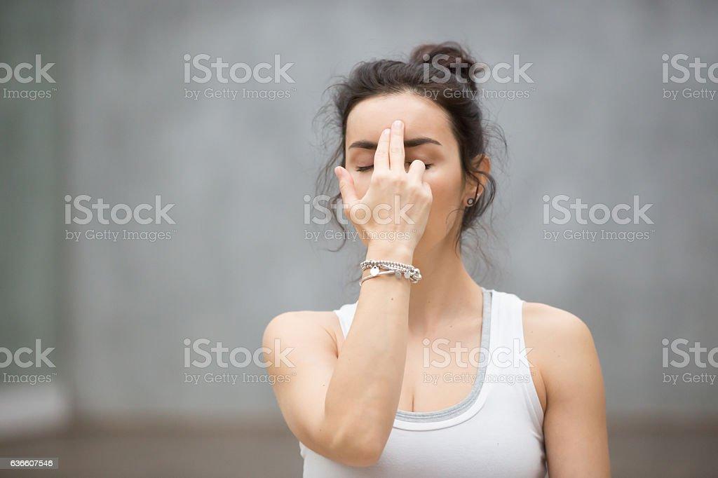 Beautiful Yoga: Alternate Nostril Breathing stock photo