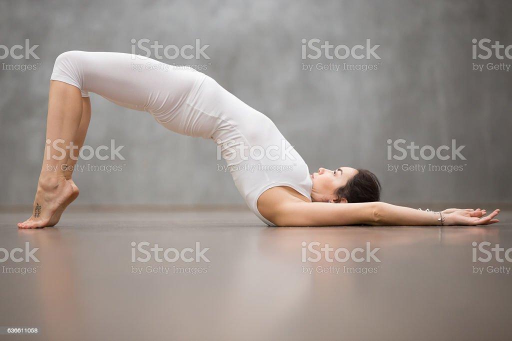 Beautiful Yoga: Glute Bridge posture stock photo
