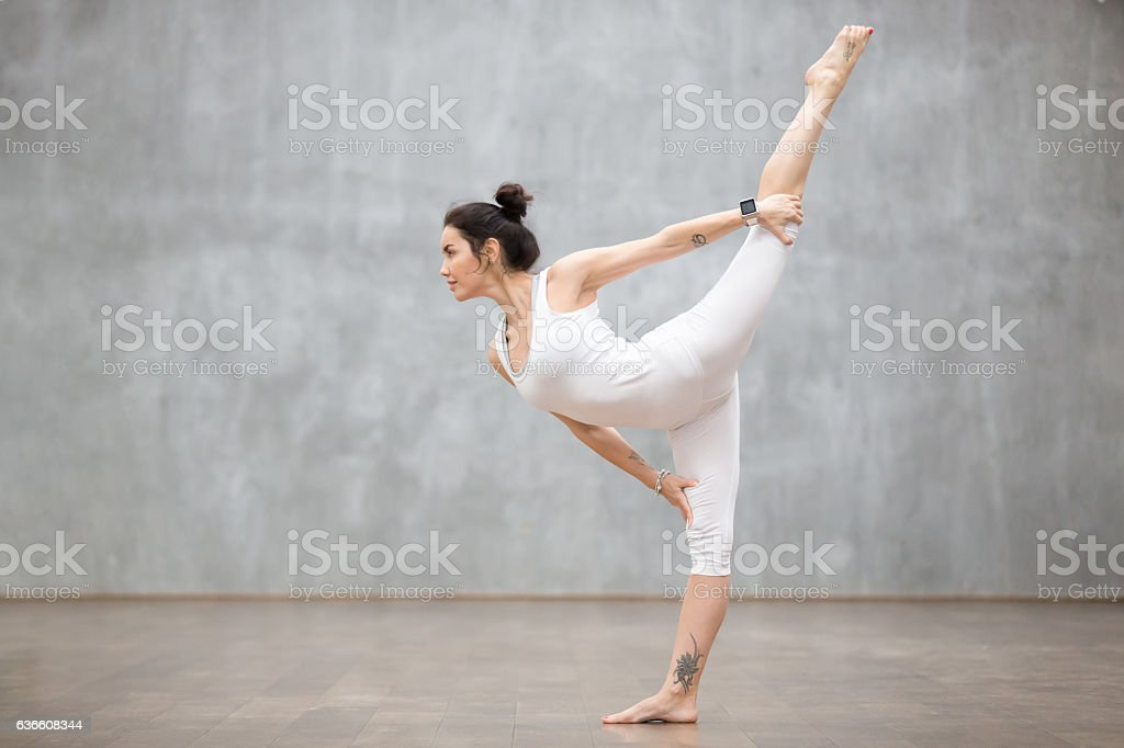 Beautiful Yoga: Lord of the Dance pose stock photo