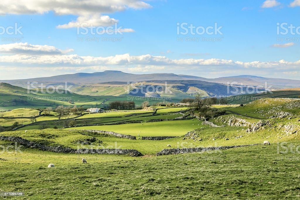Beautiful yorkshire dales landscape stunning scenery england green rolling hills stock photo