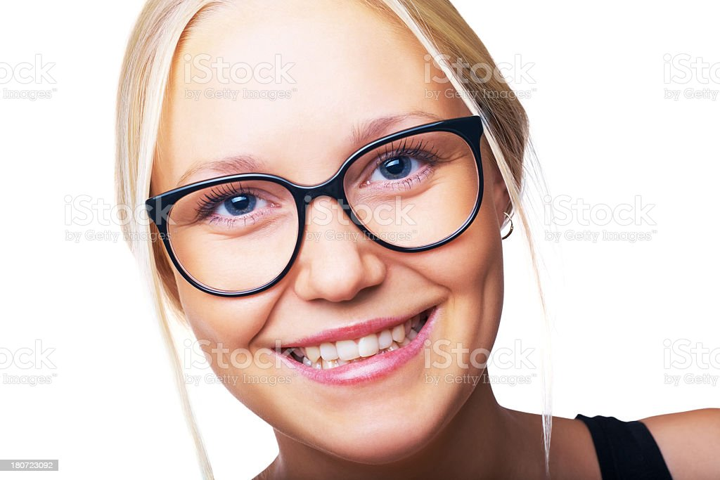 Beautiful young adult girl with glasses royalty-free stock photo