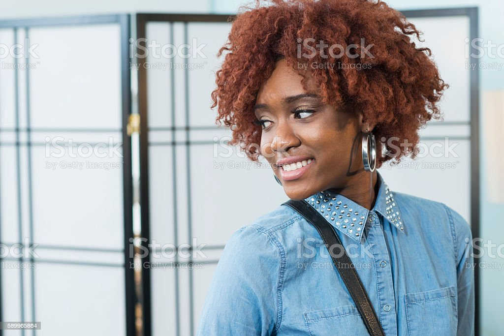 Beautiful young African American woman with afro stock photo
