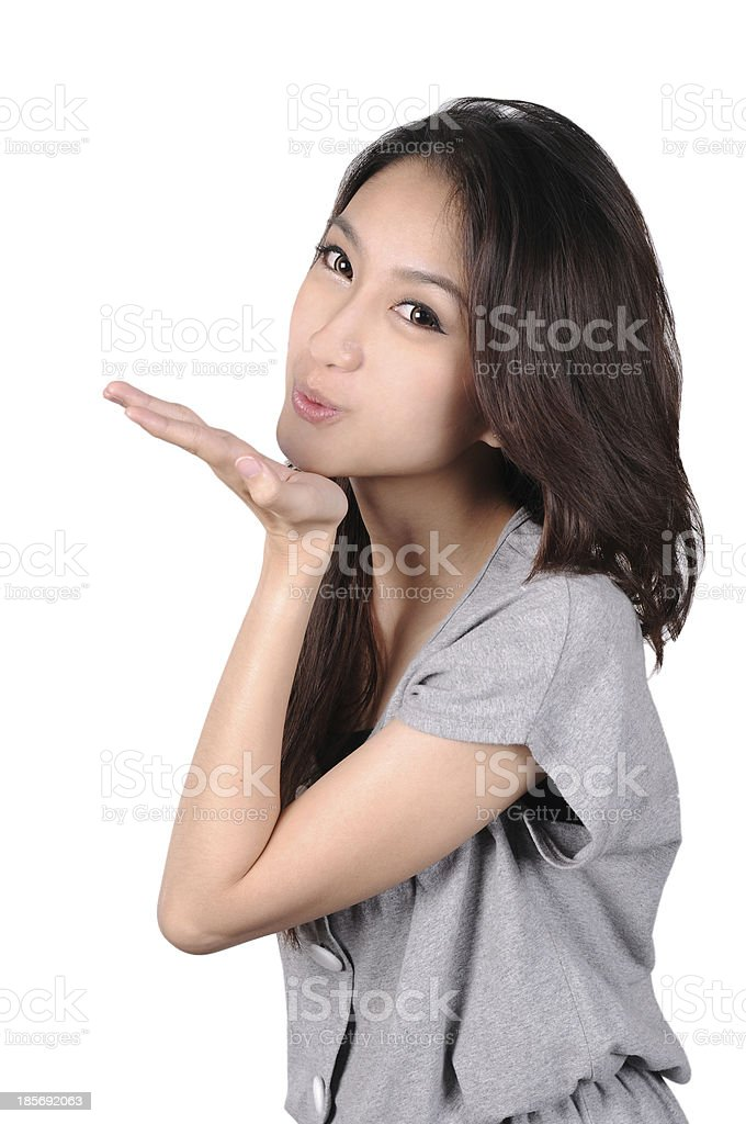Beautiful Young Asian Woman, Isolated,white background. stock photo