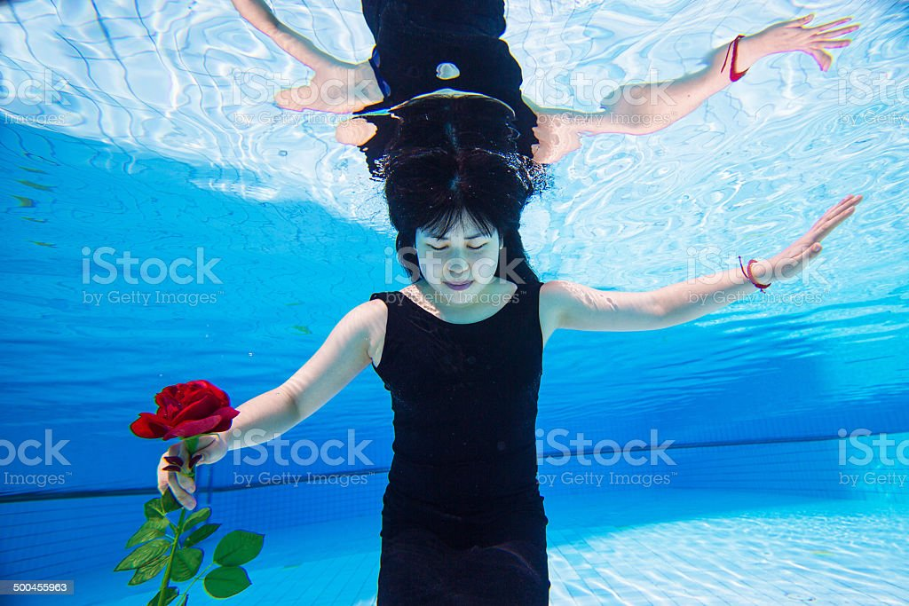 Beautiful young Asian woman under the water stock photo