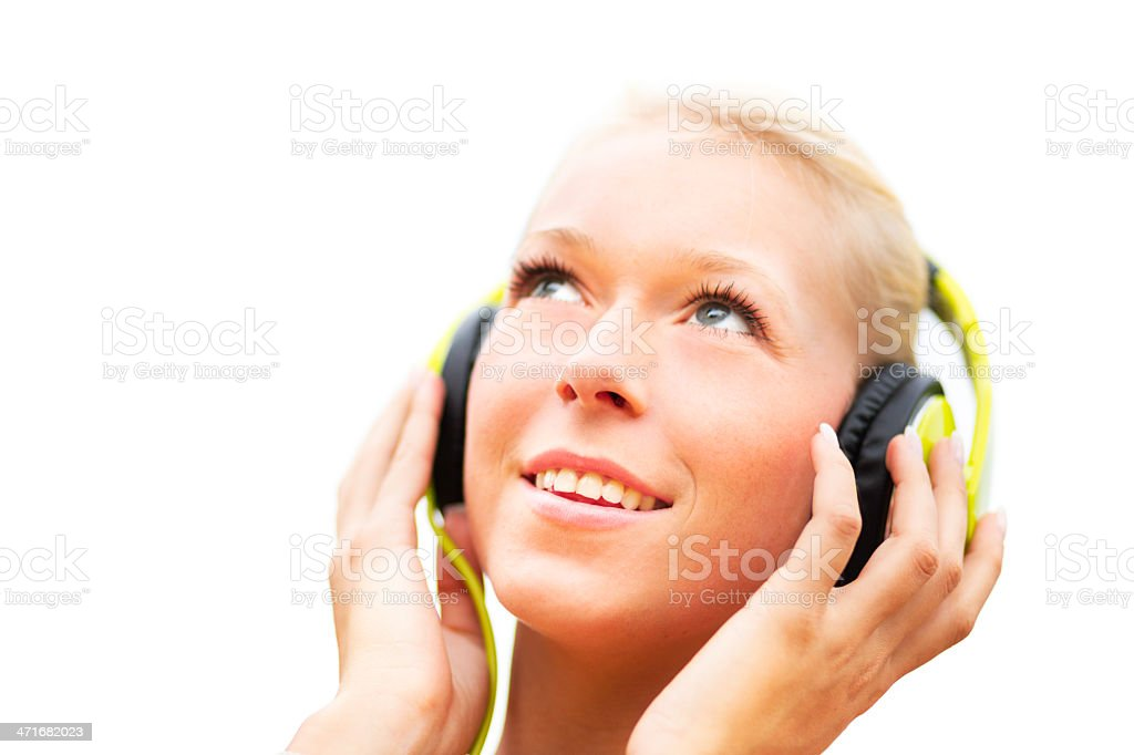 Beautiful young blond woman with headphone royalty-free stock photo