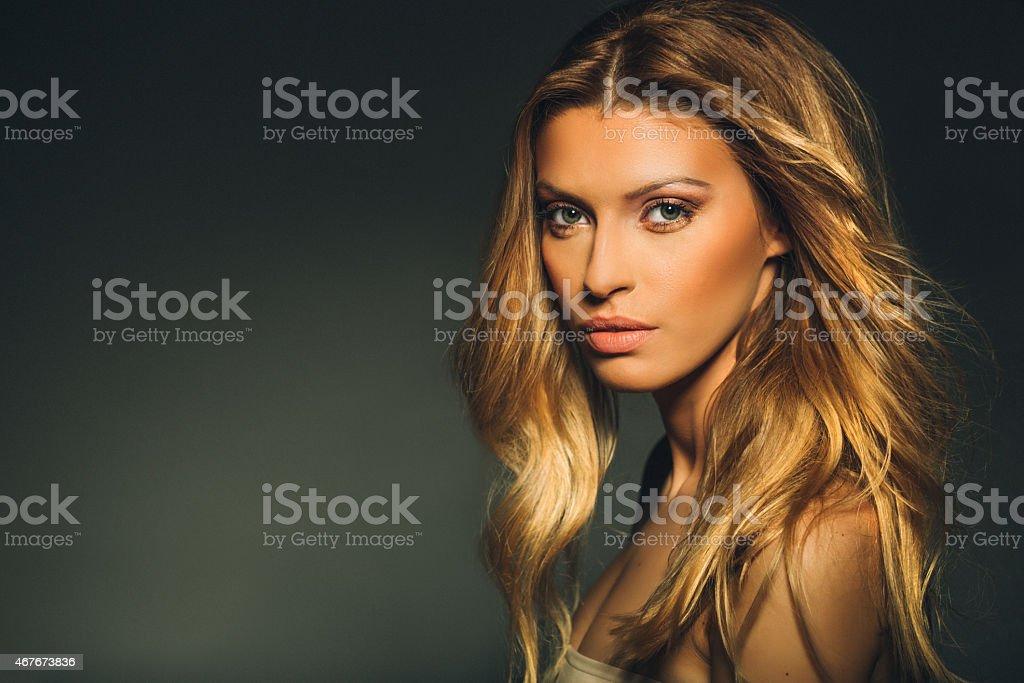 Beautiful young blonde stock photo