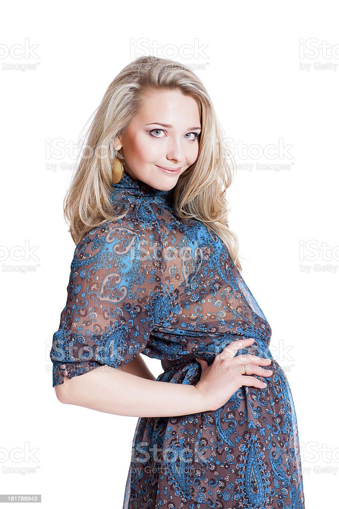 Beautiful young blonde wearing dress royalty-free stock photo