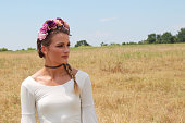Beautiful Young Bohemian Woman with Flower Crown