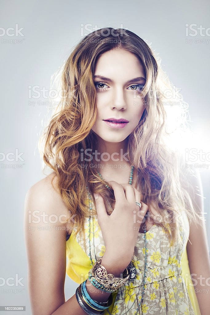 Beautiful young boho chic woman royalty-free stock photo