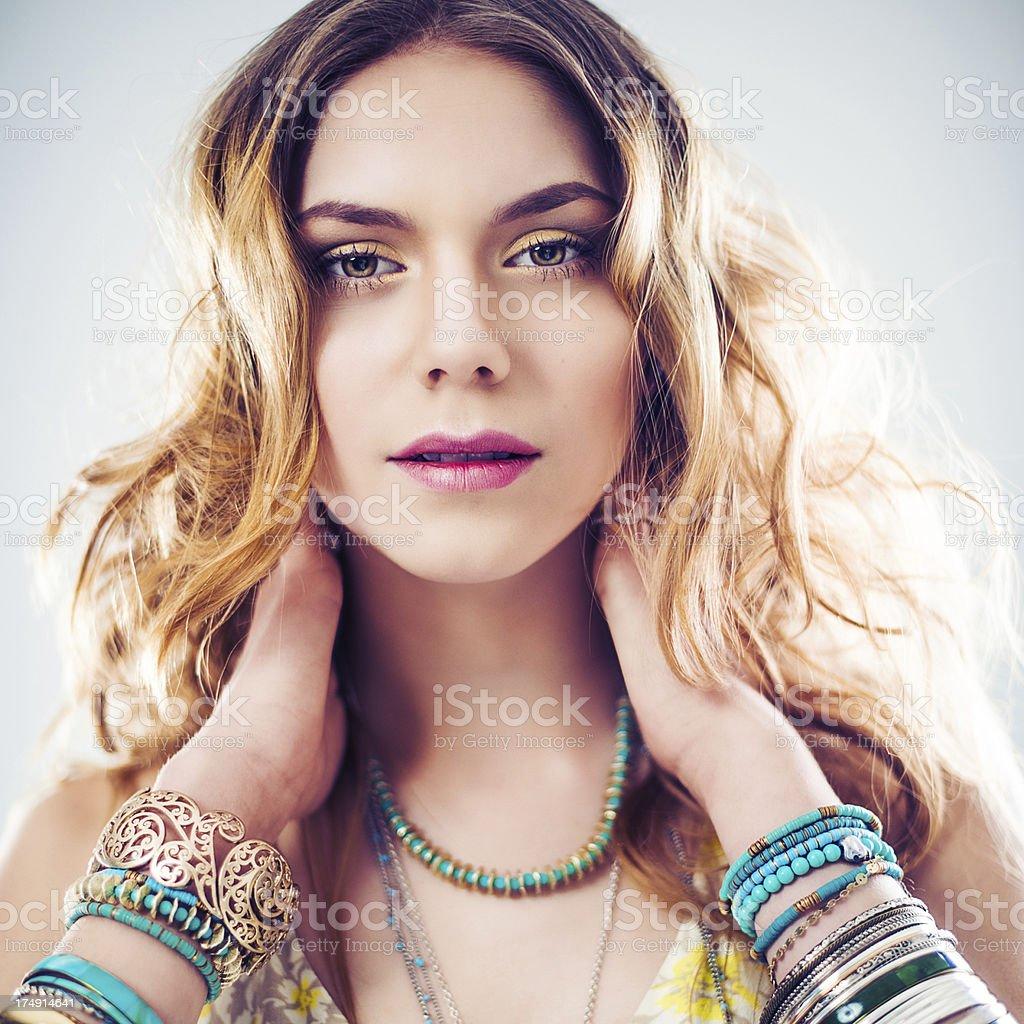 Beautiful young boho chic woman royalty-free stock photo