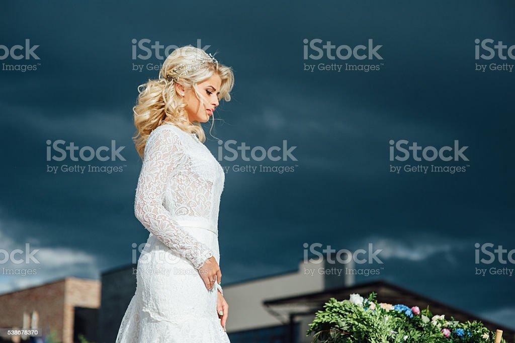Beautiful young bride in luxury wedding dress stock photo