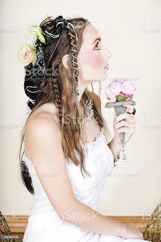Beautiful young bride in wedding dress royalty-free stock photo