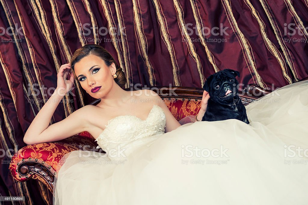 Beautiful Young Bride Lying on Sofa with Her Puppy Dog stock photo
