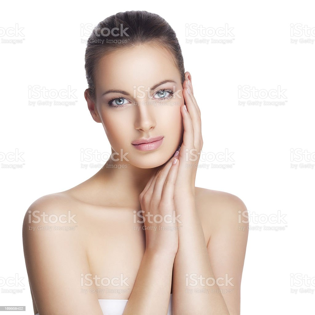 Beautiful young brunette with hair pulled back royalty-free stock photo