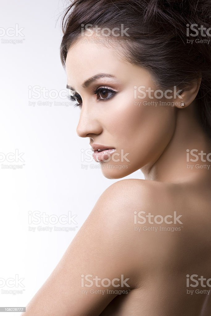 Beautiful Young Brunette Woman Modeling, Shirtless royalty-free stock photo