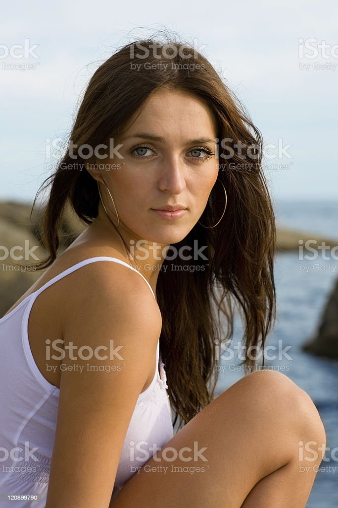 Beautiful young brunette woman royalty-free stock photo