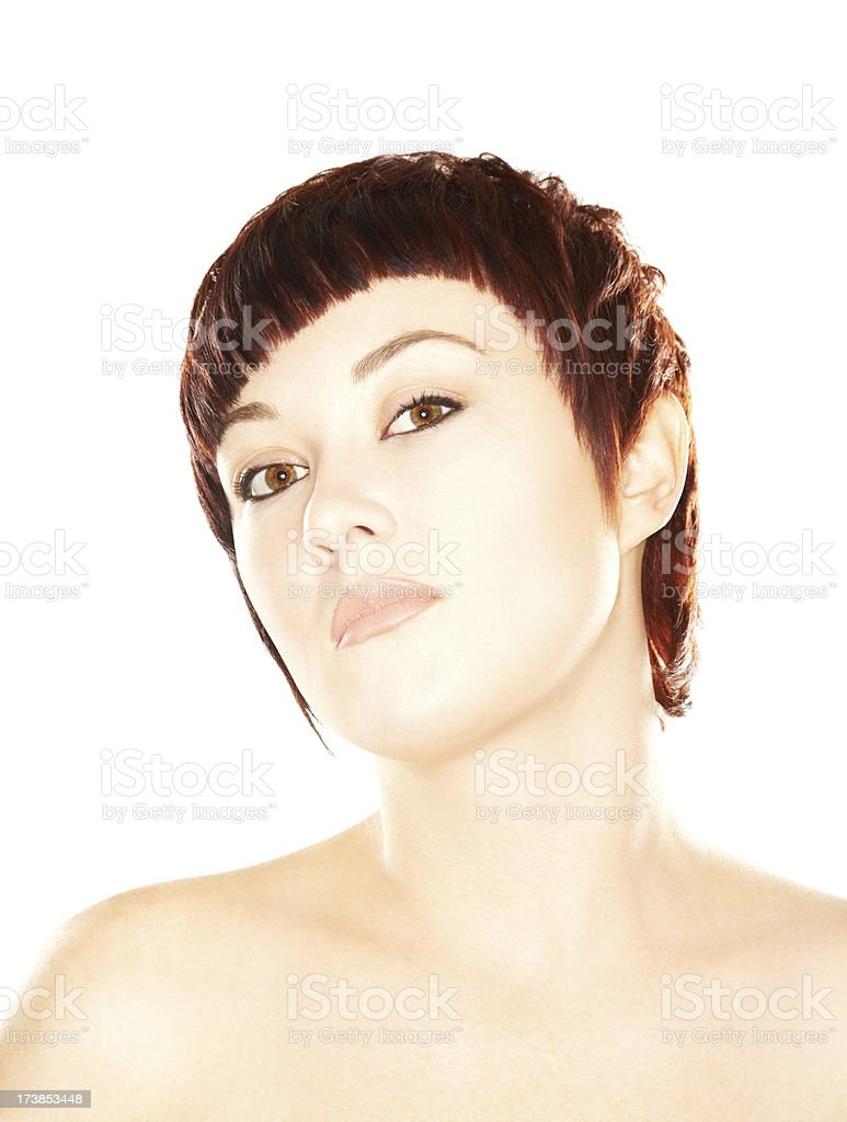 Beautiful young brunette woman with short hair royalty-free stock photo