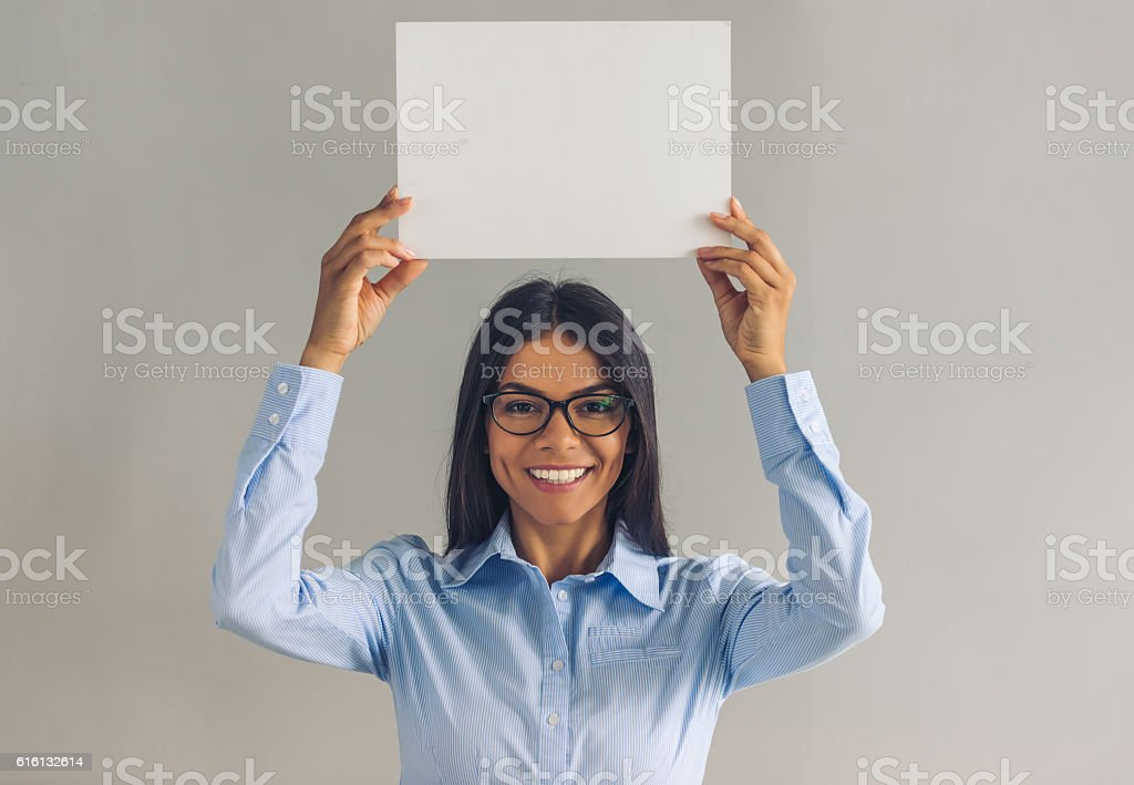 Beautiful young business lady stock photo