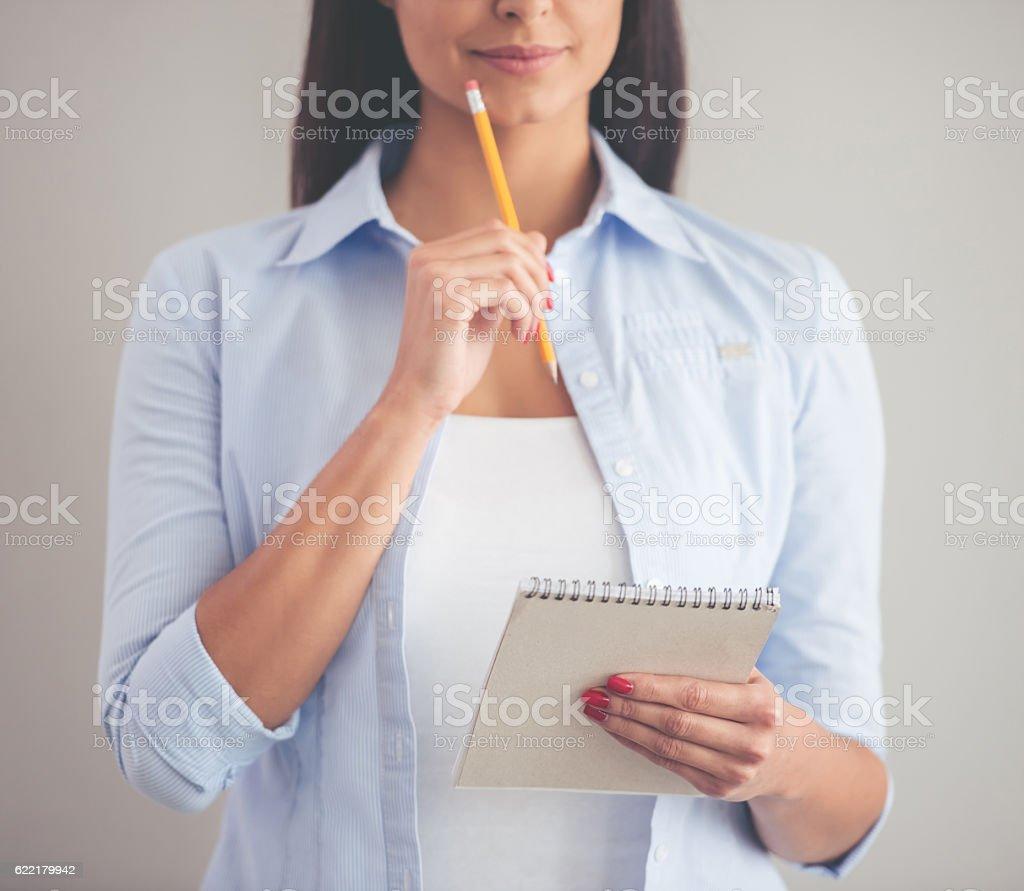 Beautiful young business lady stock photo