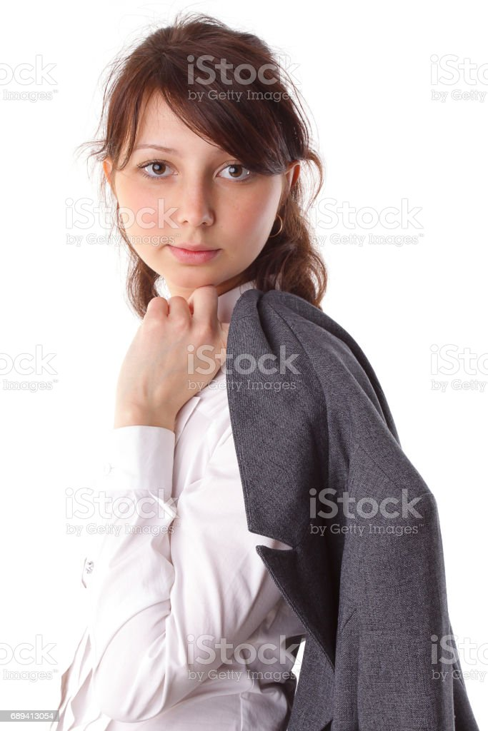 beautiful young business woman in suit isolated background stock photo