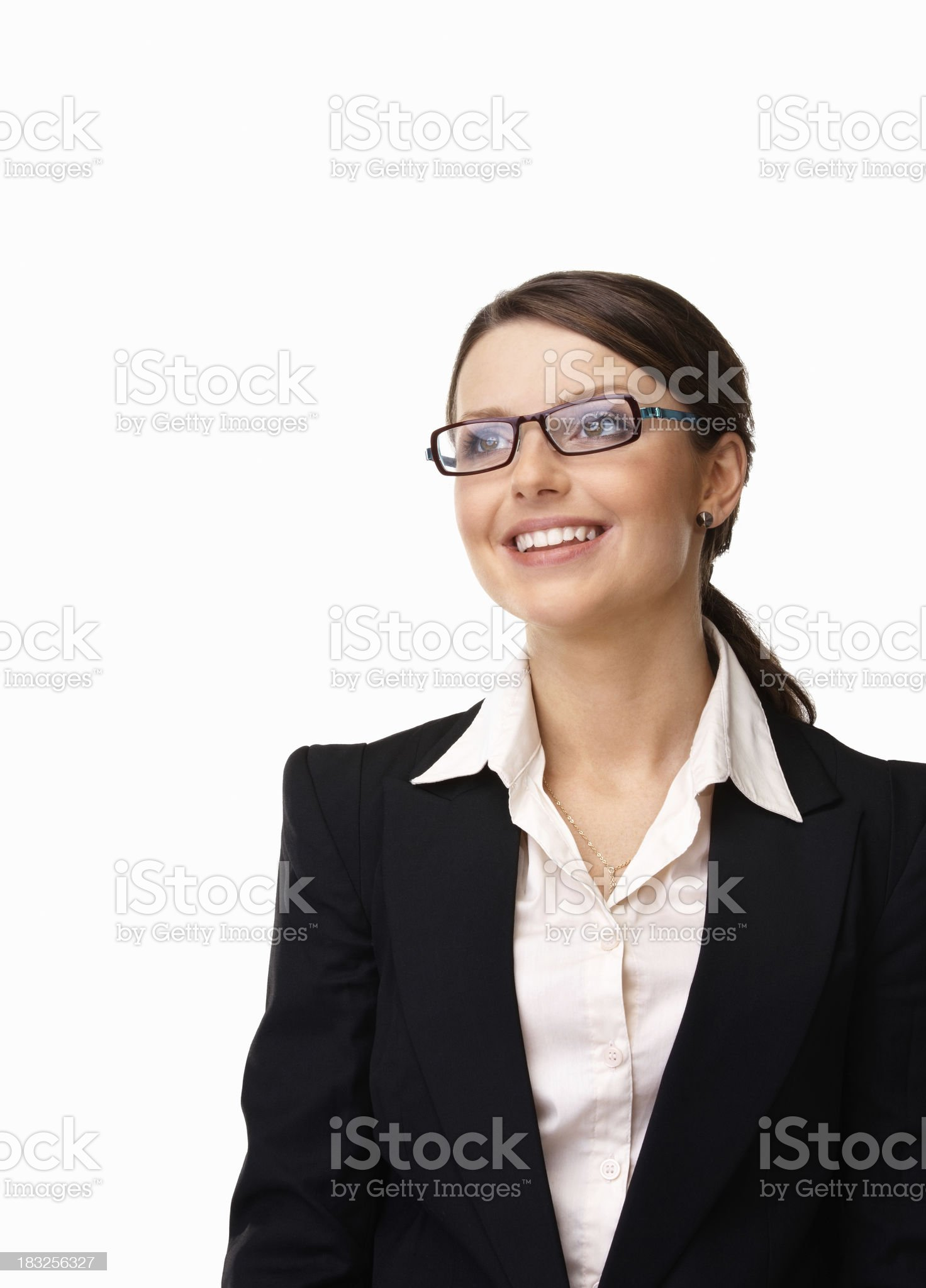 Beautiful young business woman smiling against white background royalty-free stock photo