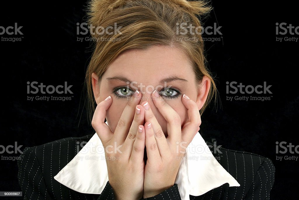 Beautiful Young Business Woman with Hands On Face royalty-free stock photo