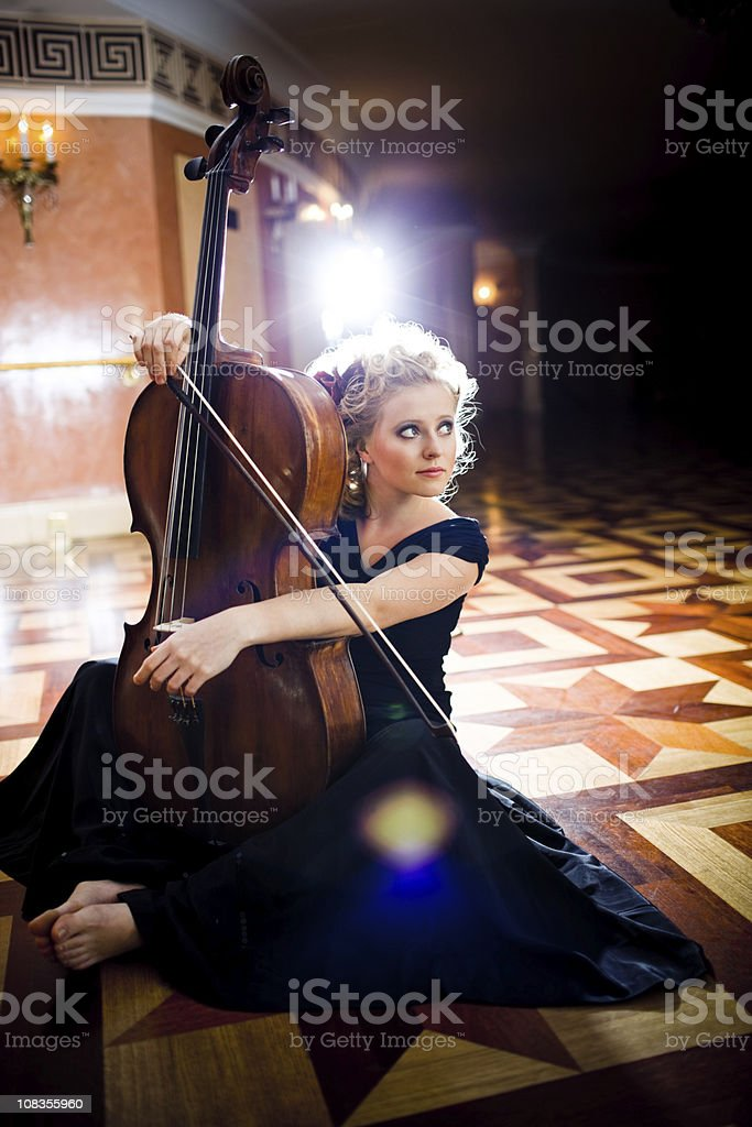 Beautiful Young Cello Player royalty-free stock photo