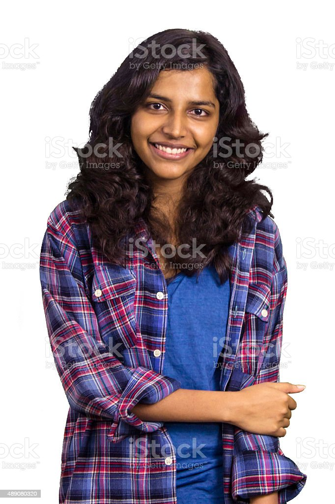 Beautiful young college girl stock photo