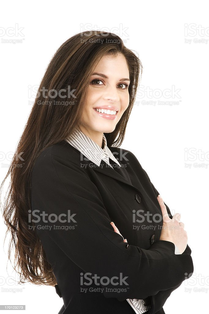 Beautiful young confident Hispanic business woman teeth smiling arms folded royalty-free stock photo