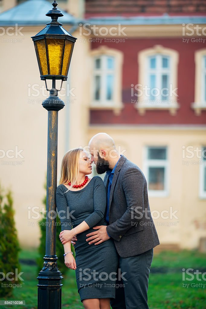 beautiful young couple in love, hugs, royalty-free stock photo