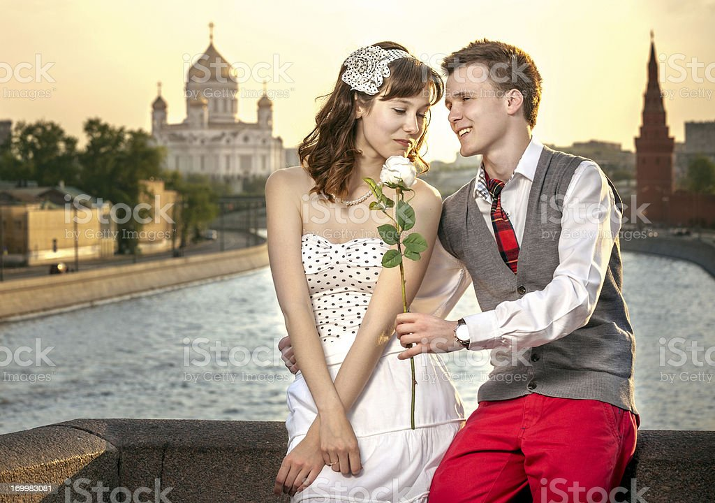 Beautiful young couple in retro style royalty-free stock photo
