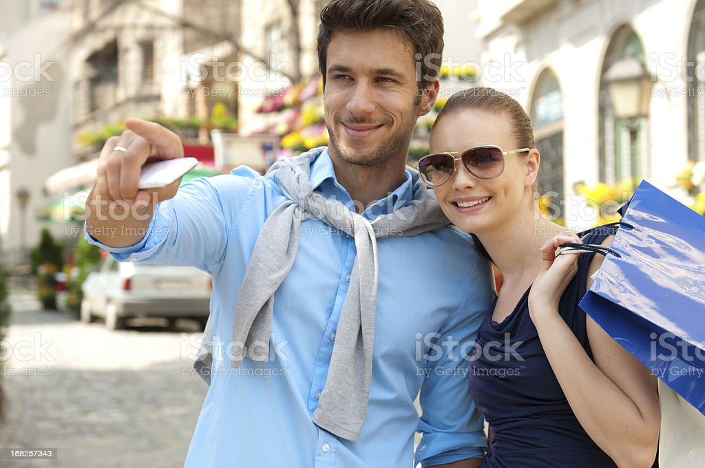 beautiful young couple in urban area royalty-free stock photo