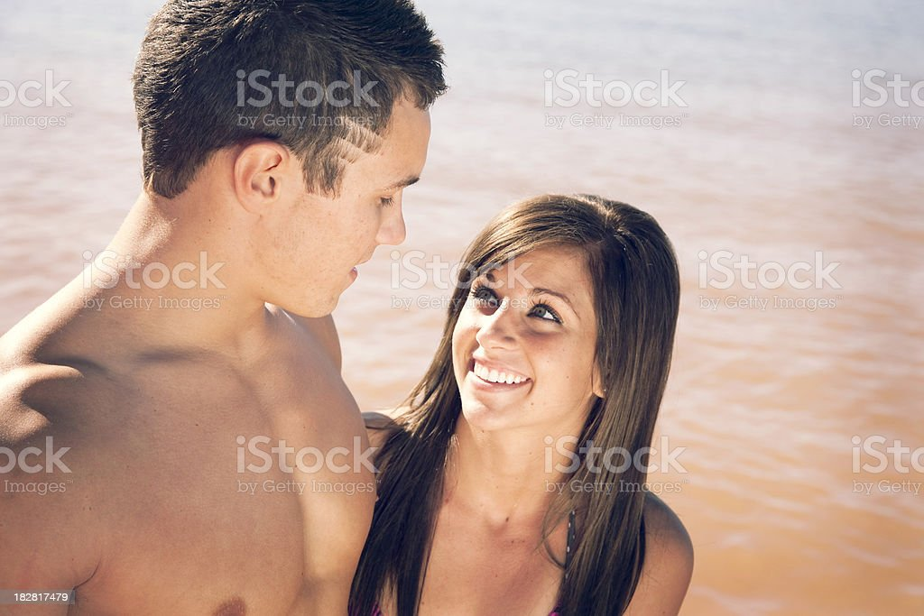Beautiful Young Couple Outside- Vintage Processing royalty-free stock photo