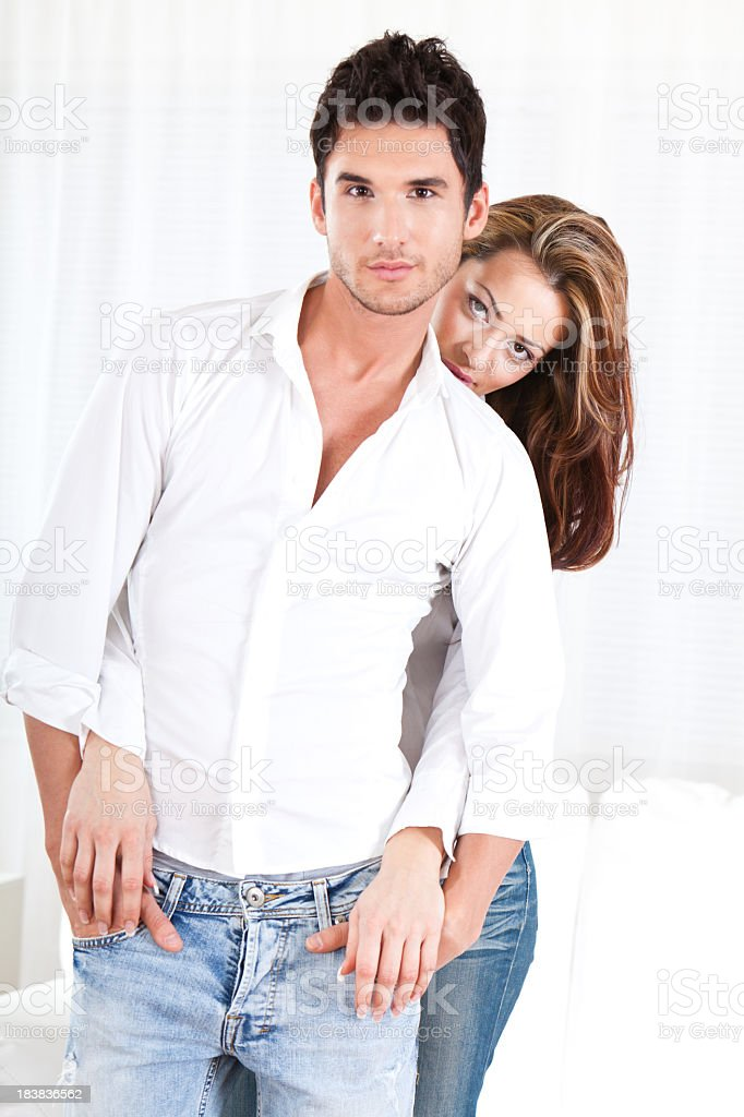 Beautiful young couple posing royalty-free stock photo