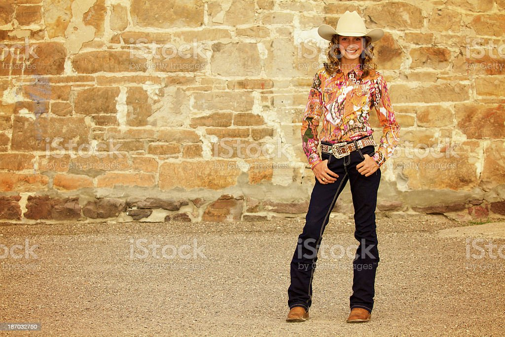 Beautiful young cowgirl royalty-free stock photo